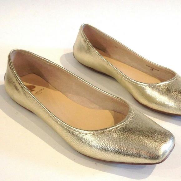 37a48f8894c kate spade Shoes - KATE SPADE GOLD METALLIC SQUARE TOE BALLET FLATS